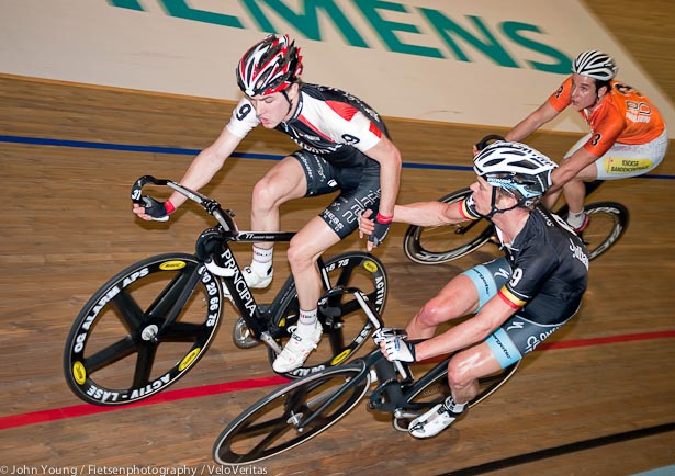 Eventual winners Hester and Keisse exchange during a hard fought Madison.