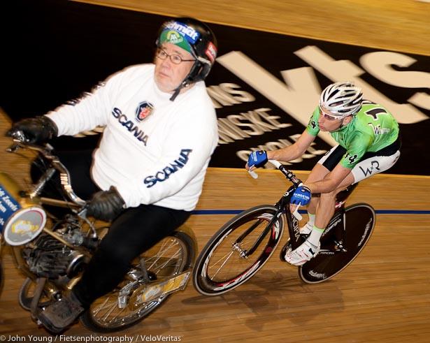 Jesper Morkov with Derny pacer Joop.
