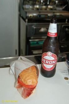 Panini and Peroni - perfect for the punters.