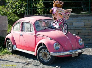 We wonder if the Beetle was already pink, or painted especially.