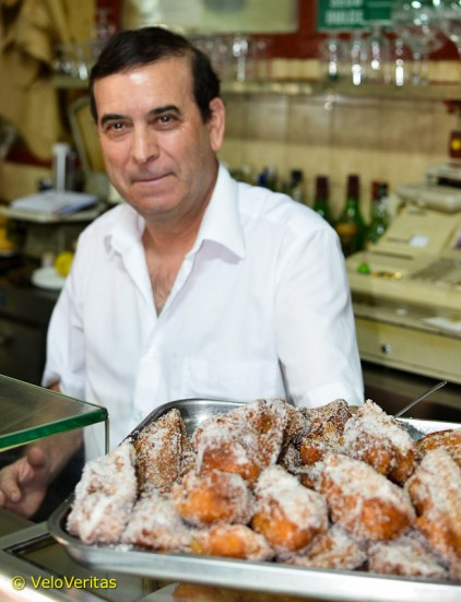 The famous Torrijas, large, very sweet and sugared donuts, which you take with a small glass of desert wine - just great!