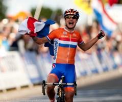 Marianne Vos celebrates.