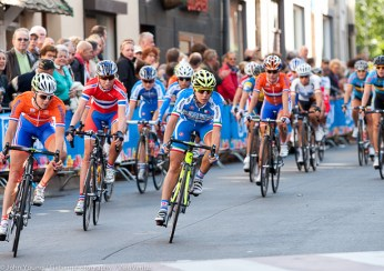 The italians leading the pack as they turn to take on the Cauburg.