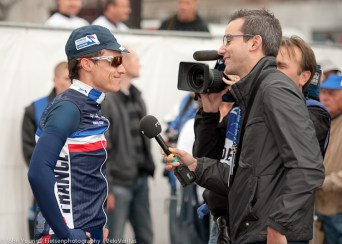 Chavanel looked cool chatting to the media.
