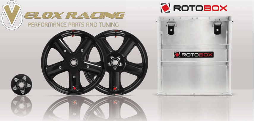 Rotobox Wheels VeloxRacing logo Alui Box, wheels and sprocket carrier