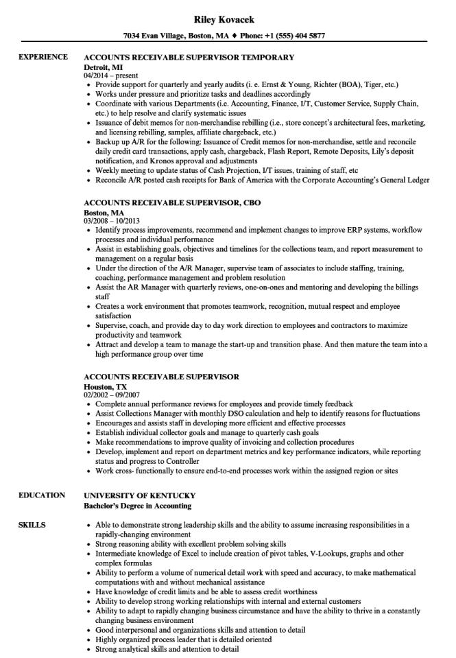 Accounts Receivable Supervisor Resume Samples Velvet Jobs