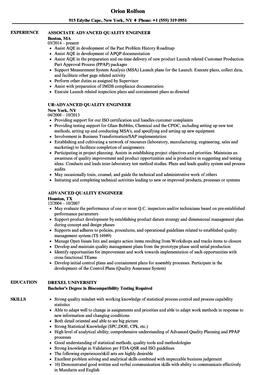 Advanced Quality Engineer Resume Samples Velvet Jobs