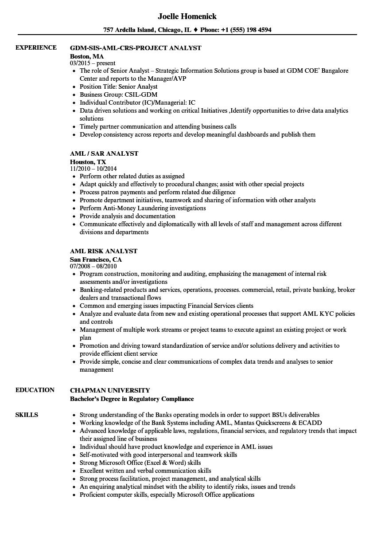 Resume Of Kyc Analyst