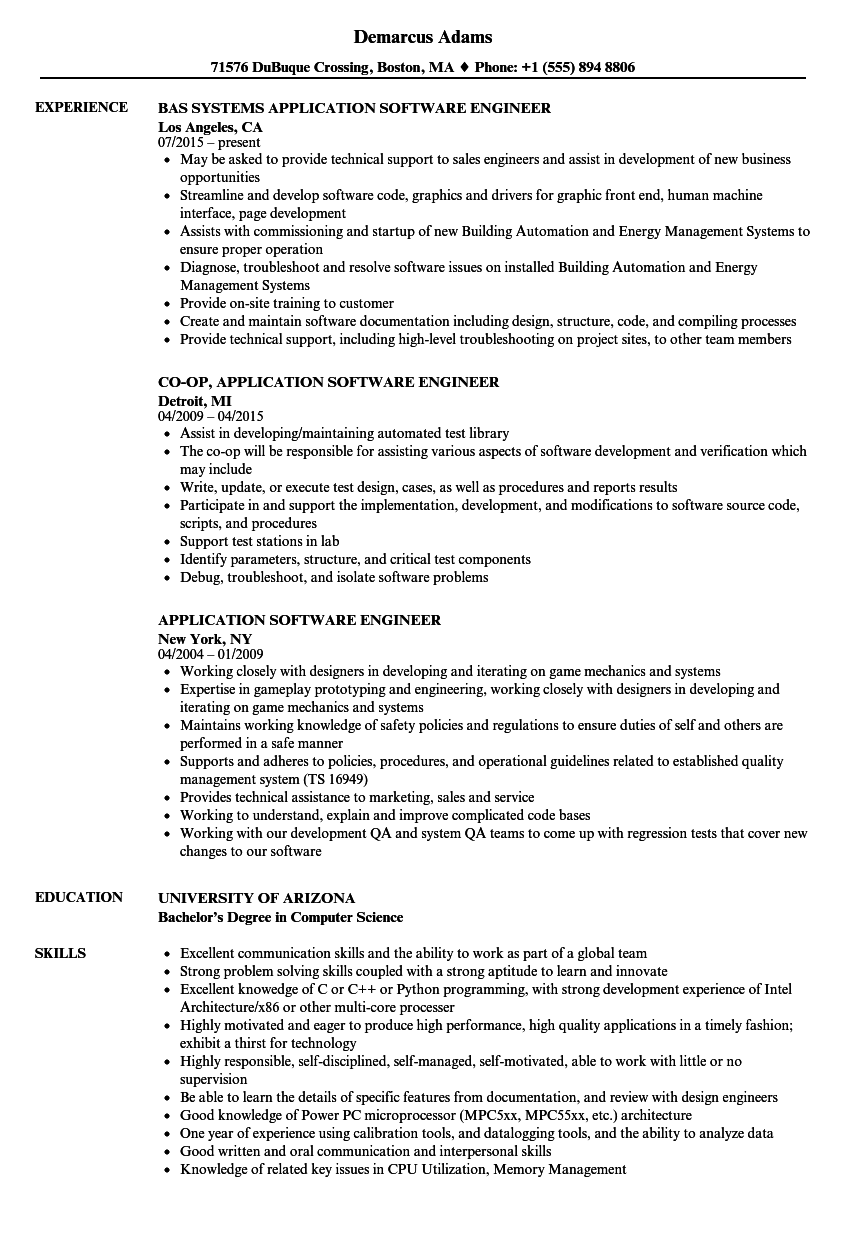 Application Software Engineer Resume Samples Velvet Jobs