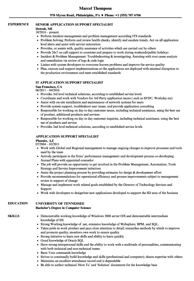 It Support Specialist Resume Resume Sample