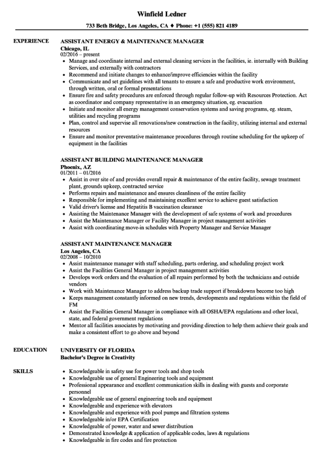 Maintenance Manager Resume Resume Sample