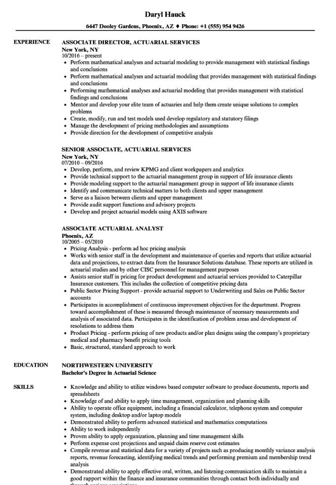 Ociate Actuarial Resume Samples Velvet Jobs