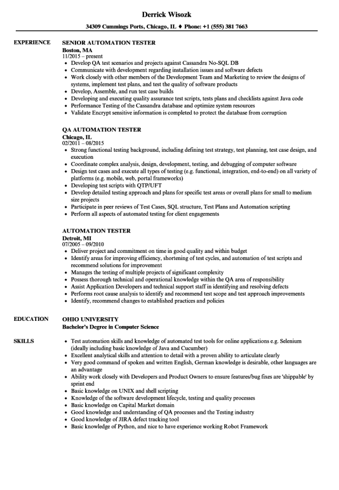 Automation Tester Resume Samples