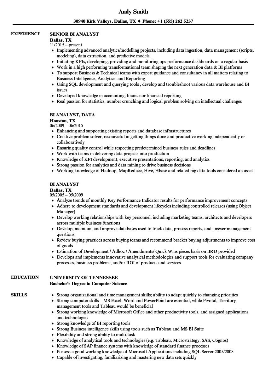 09/08/2021· business intelligence developer with 10+ years of experience in finance and insurance. Bi Analyst Resume Samples Velvet Jobs
