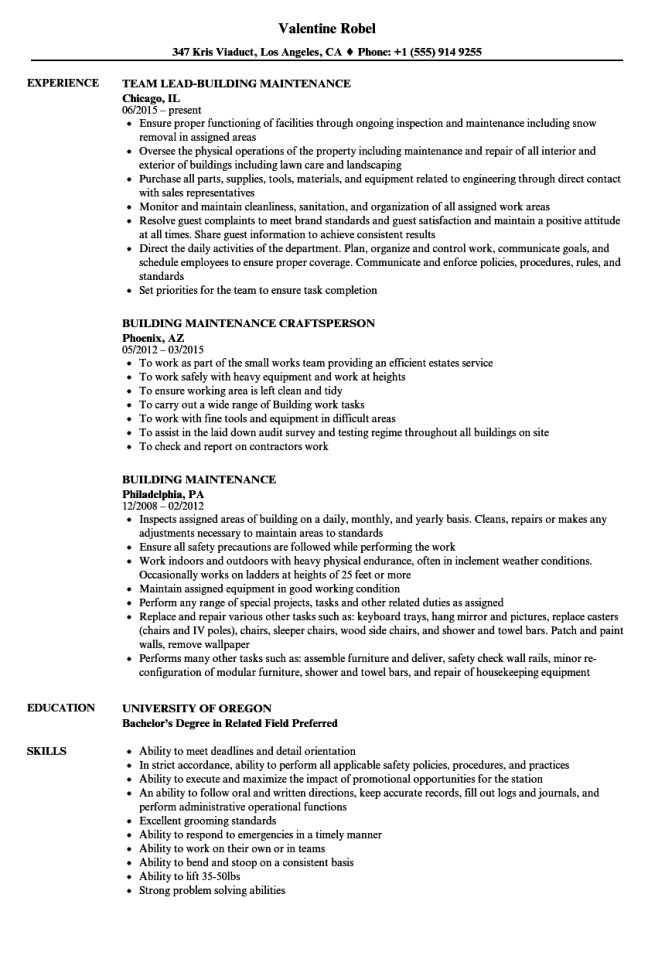 resume for building maintenance