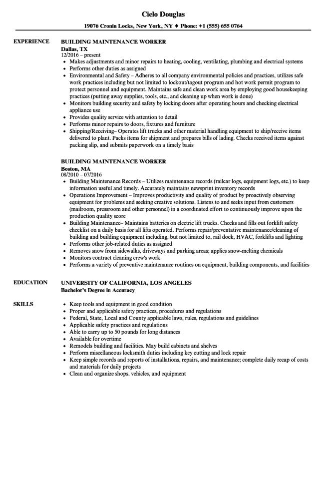 building maintenance worker resume samples velvet jobs - Maintenance Resume Examples