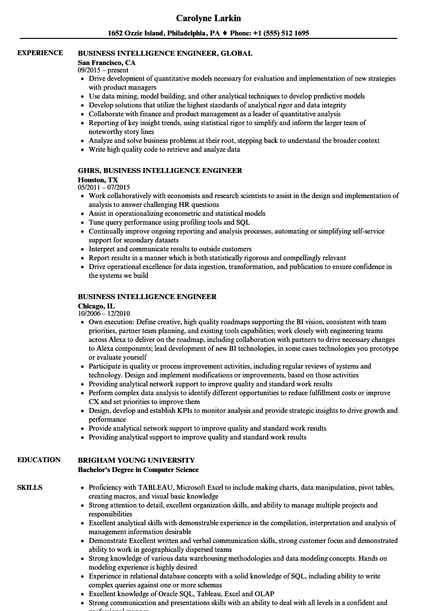 If you recently graduated with a liberal ar. Business Intelligence Engineer Resume Samples Velvet Jobs