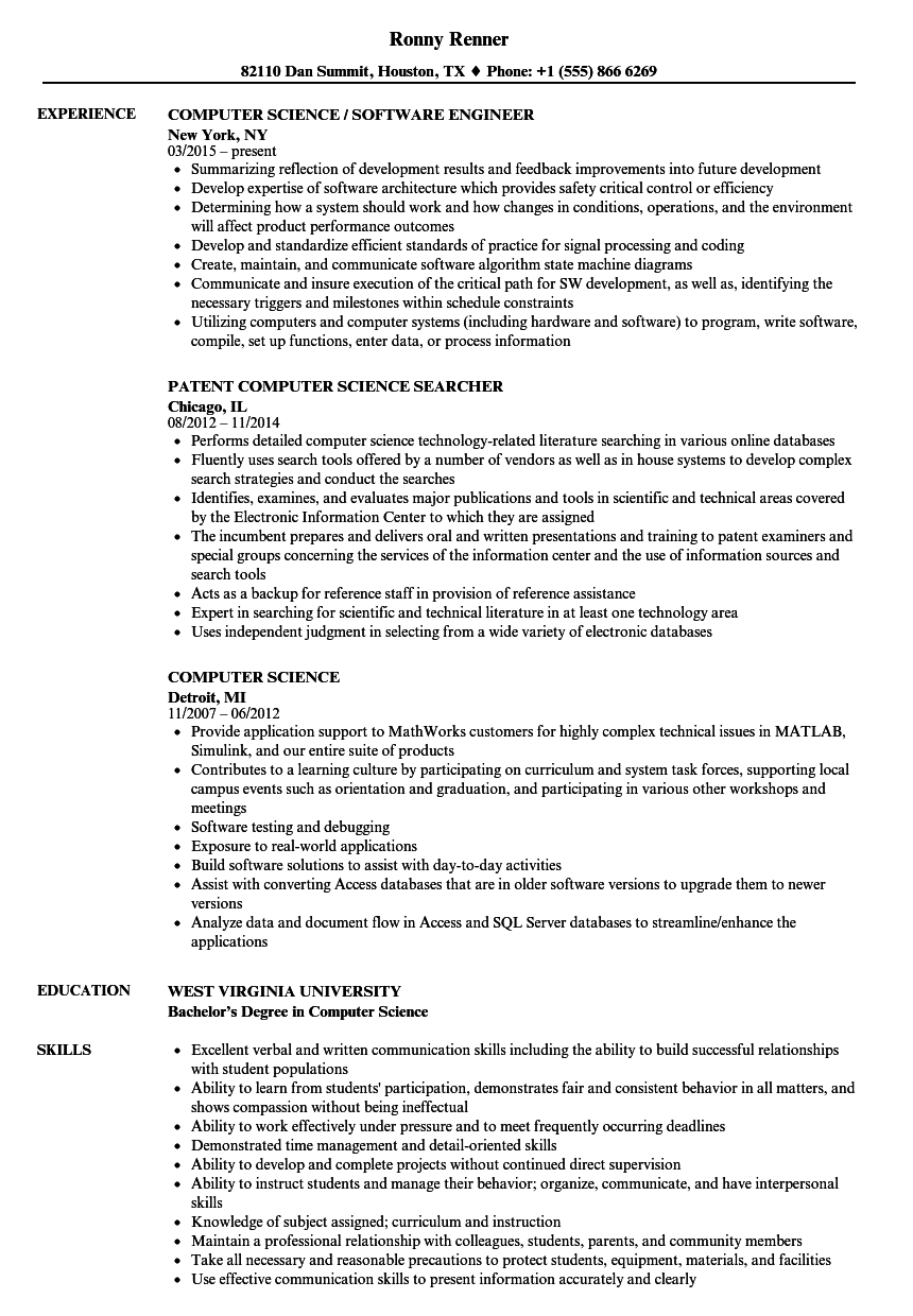 These days computer science has become one of the most fascinating career options for students. Computer Science Resume Samples Velvet Jobs