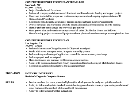 computer support technician resume » Full HD MAPS Locations ...