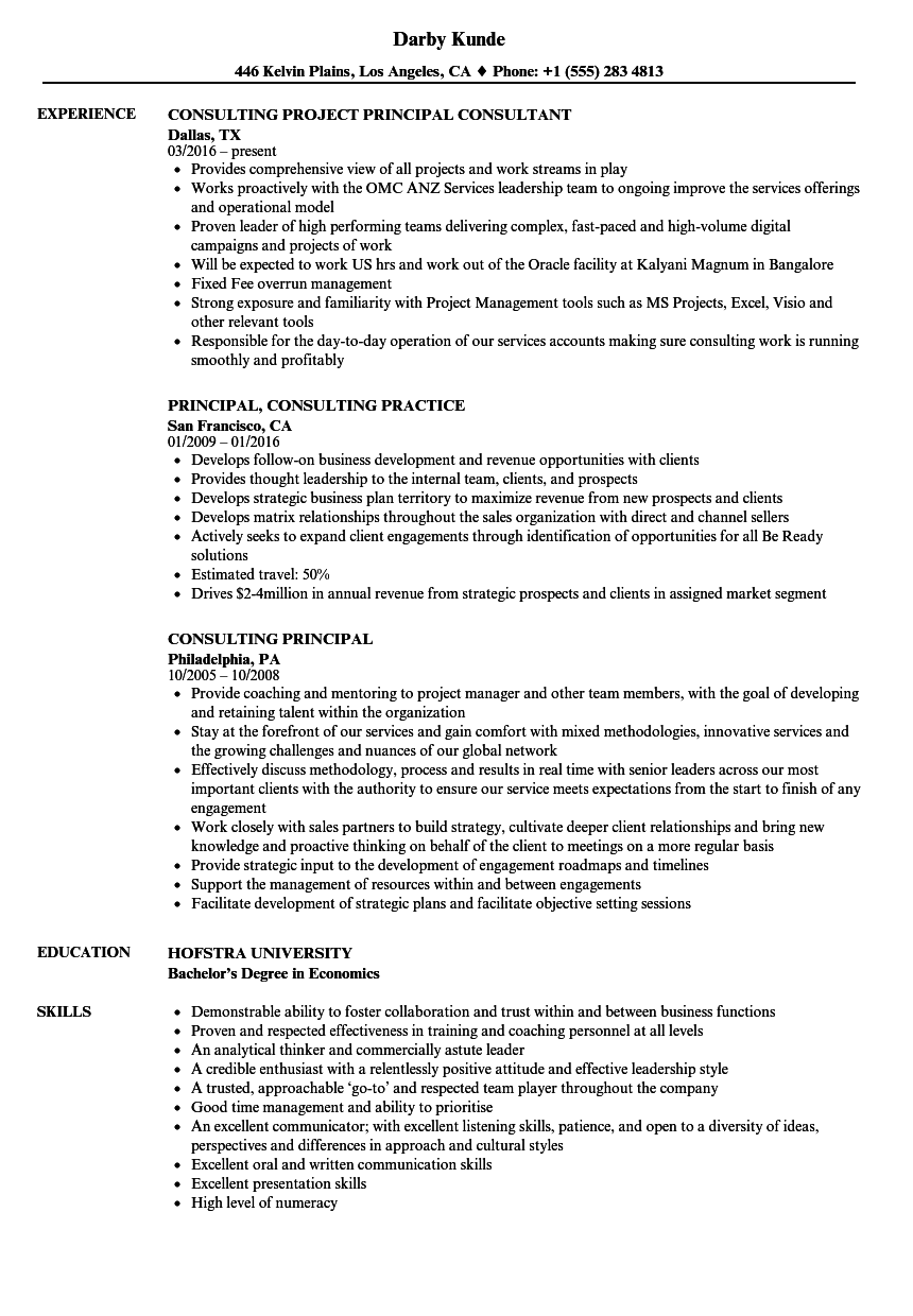 Consulting Principal Resume Samples Velvet Jobs