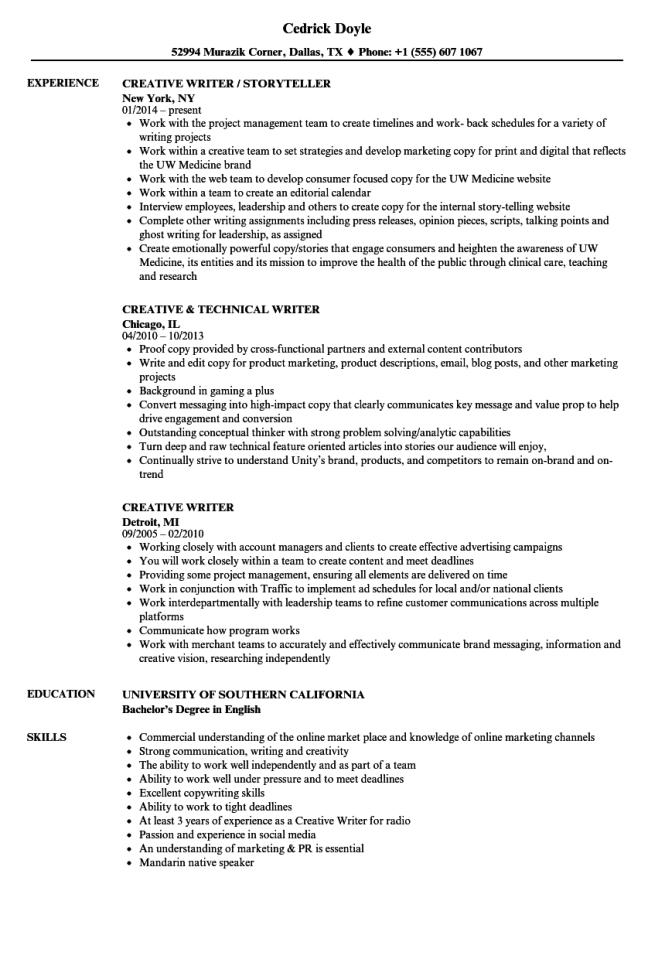 Writer Resume - Resume Sample