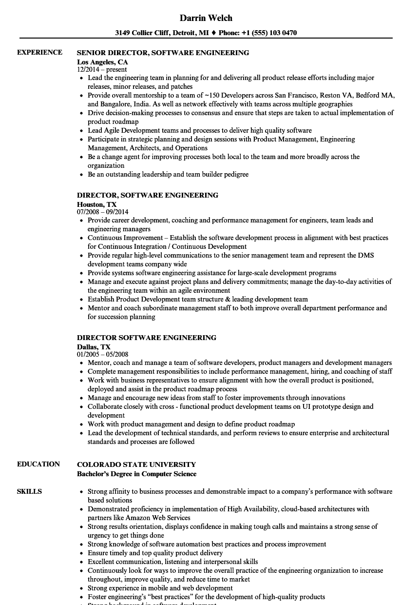 Director Software Engineering Resume Samples Velvet Jobs