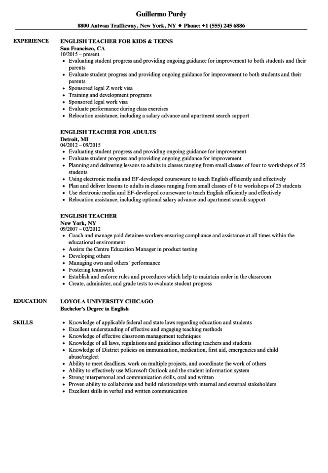 how to write a resume for a teaching job  resume sample