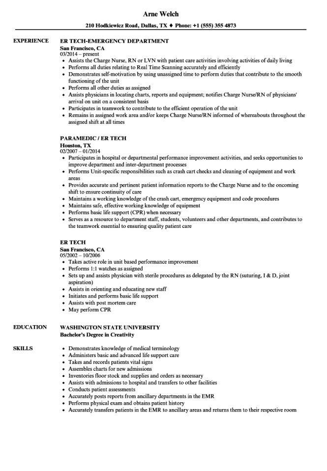 er-tech-resume-sample Template Cover Letter Nurse Veterinary Istant Resume Lkjdf on