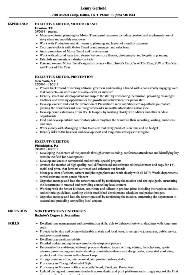 Photo Editor Resume Sample - Resume Sample