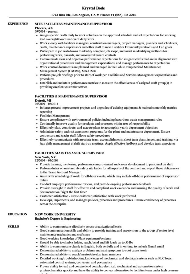 Facility Maintenance Resume Resume Sample