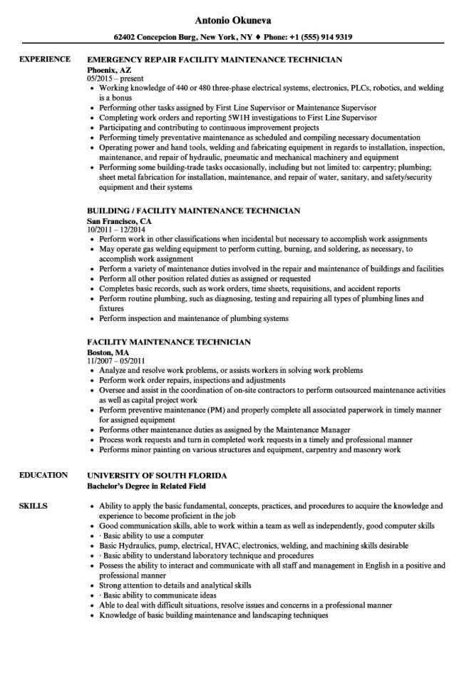 facility-maintenance-technician-resume-sample General Maintenance Cover Letter Template on lift master recommended, for building, mechanic resume, manager resume, man examples, best industrial,