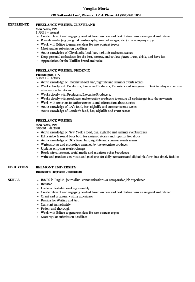 freelance writer resume samples velvet jobs - Writer Resume Sample