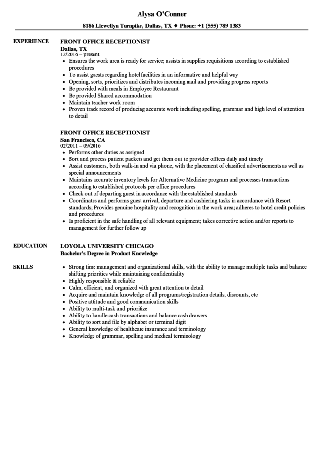 front desk receptionist resume