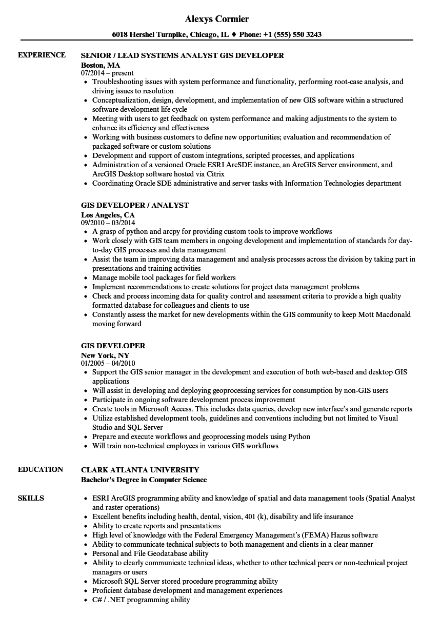Gis Developer Resume Samples Velvet Jobs