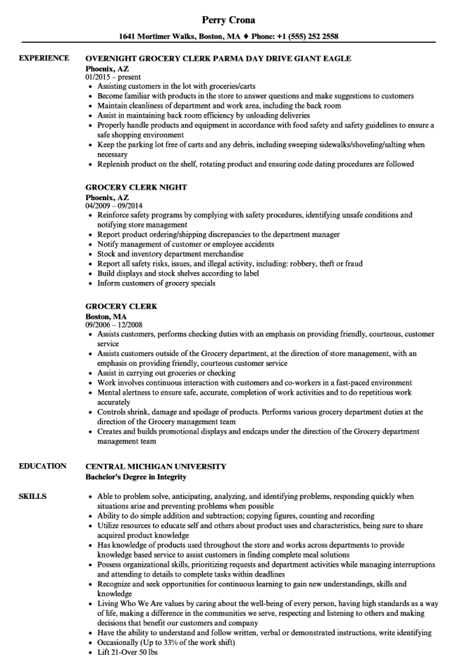 grocery-clerk-resume-sample Template Cover Letter Medical Istant Store Manager Resume Description And Objective Examples Wyvfdi on