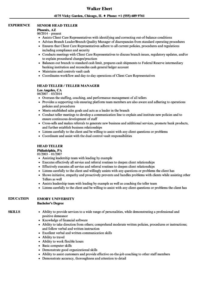 sample banker resume