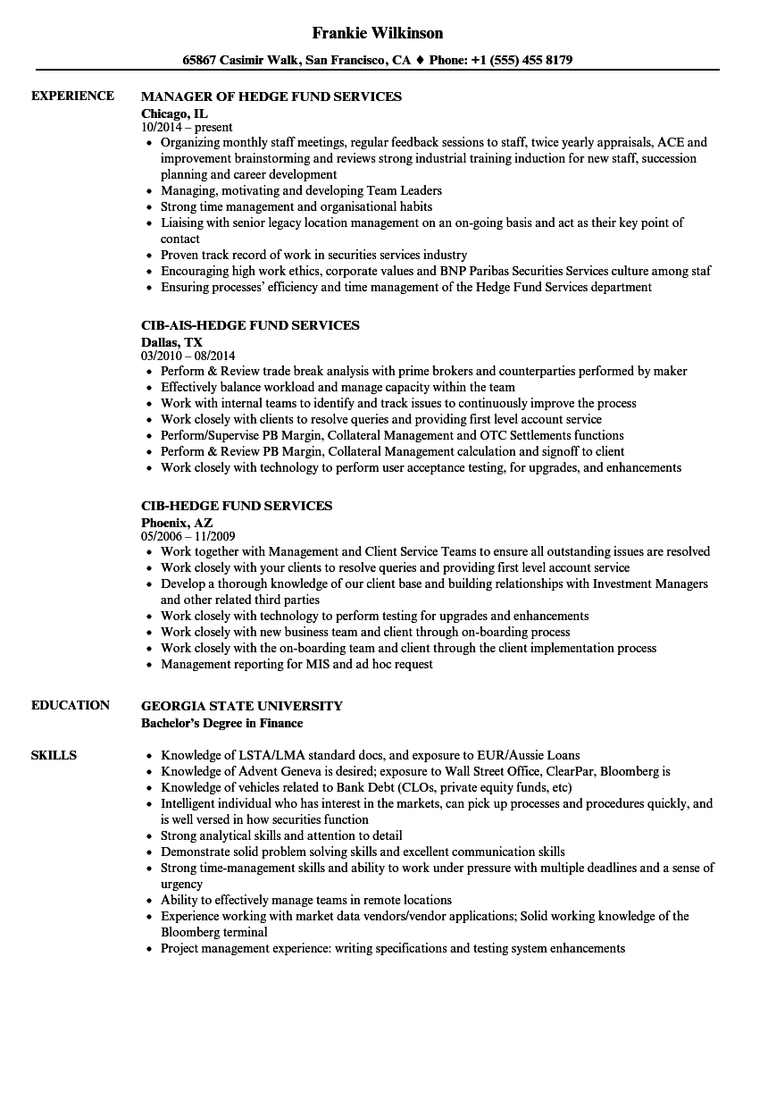 General accountant resume examples · maintained integrity of general ledger including the chart of accounts. Hedge Fund Services Resume Samples   Velvet Jobs