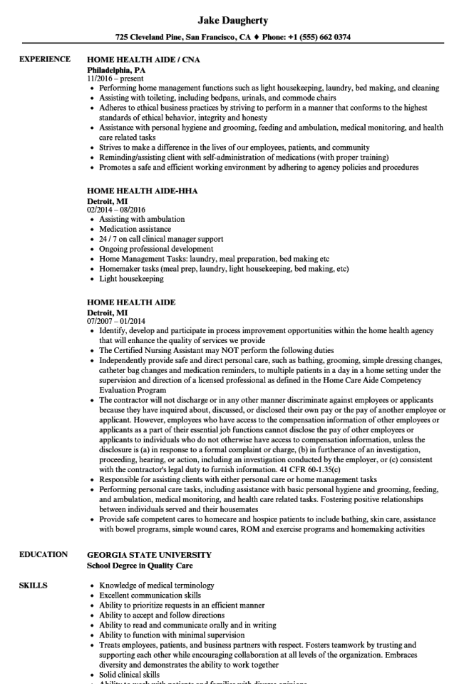 Home Health Aide Resume Template Resume Sample