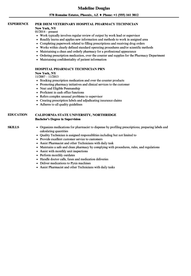 Hospital Pharmacy Technician Resume - Resume Sample