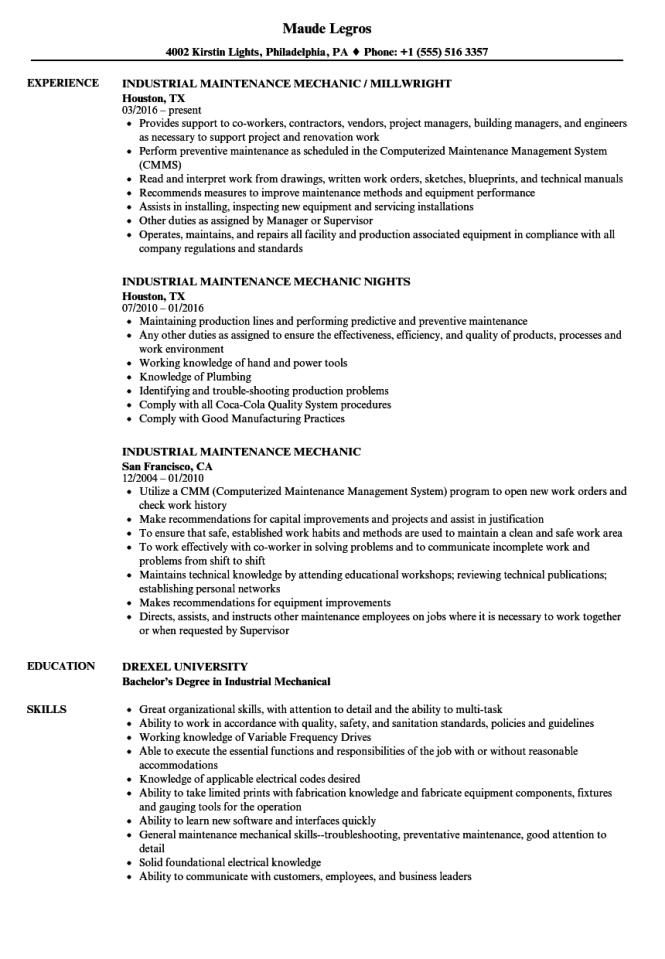 maintenance mechanic resume samples velvet jobs - Maintenance Mechanic Resume Samples