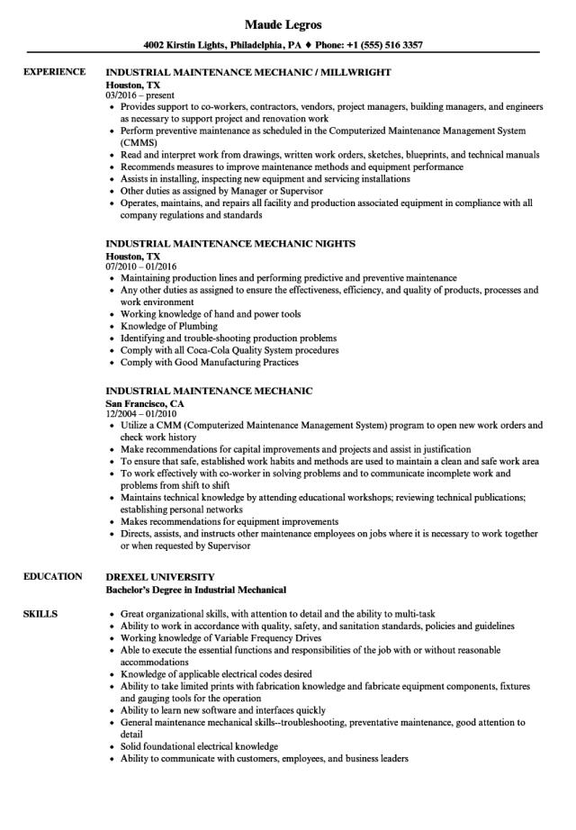 Industrial Maintenance Mechanic Resume Samples  Velvet Jobs