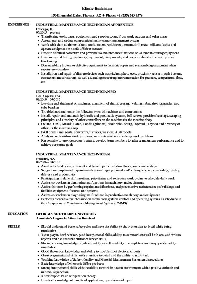 maintenance skills for resume