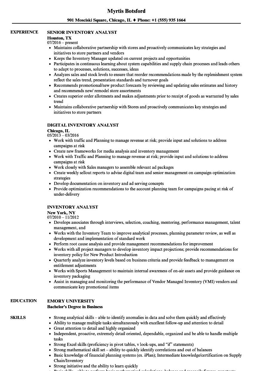 Ordering Inventory Resume