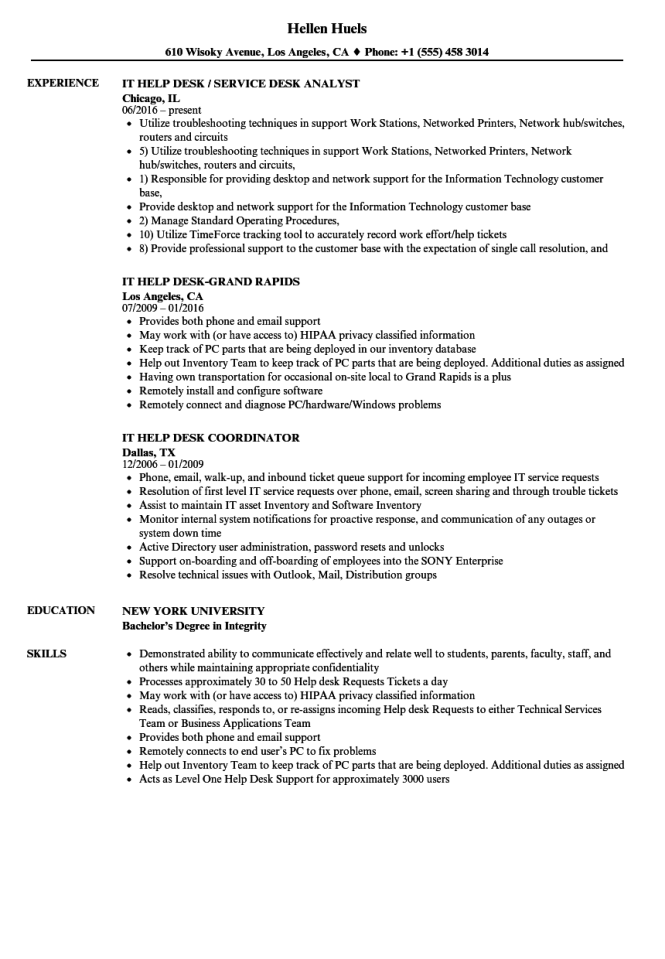 helpdesk resume