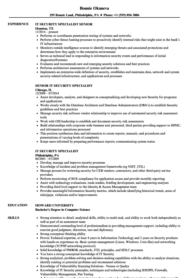 Information Security Resume Resume Sample