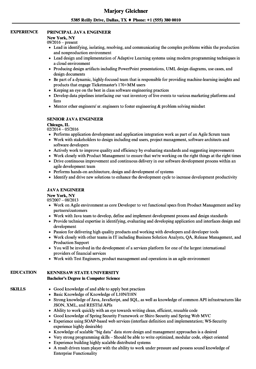 Java Engineer Resume Samples Velvet Jobs