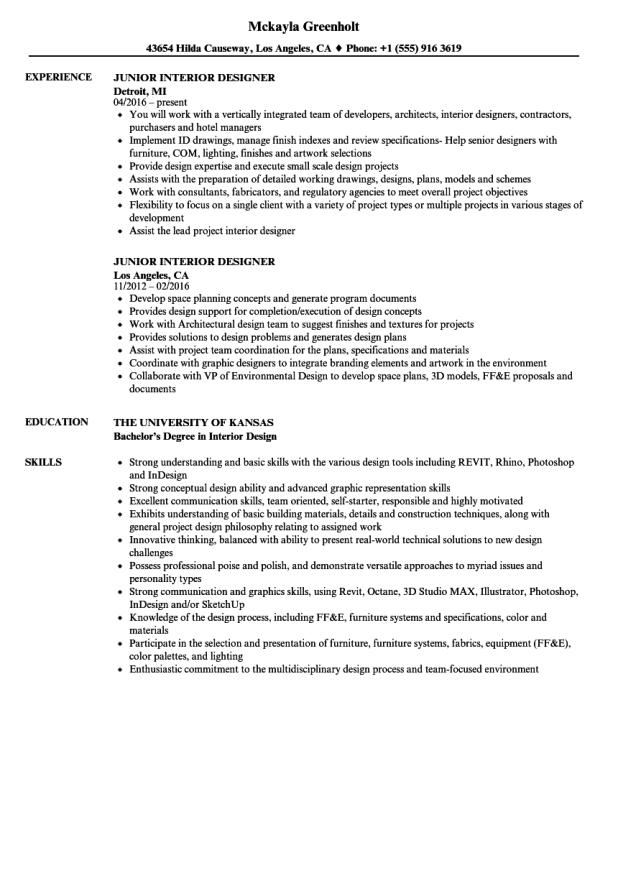 Resume samples for interior designers