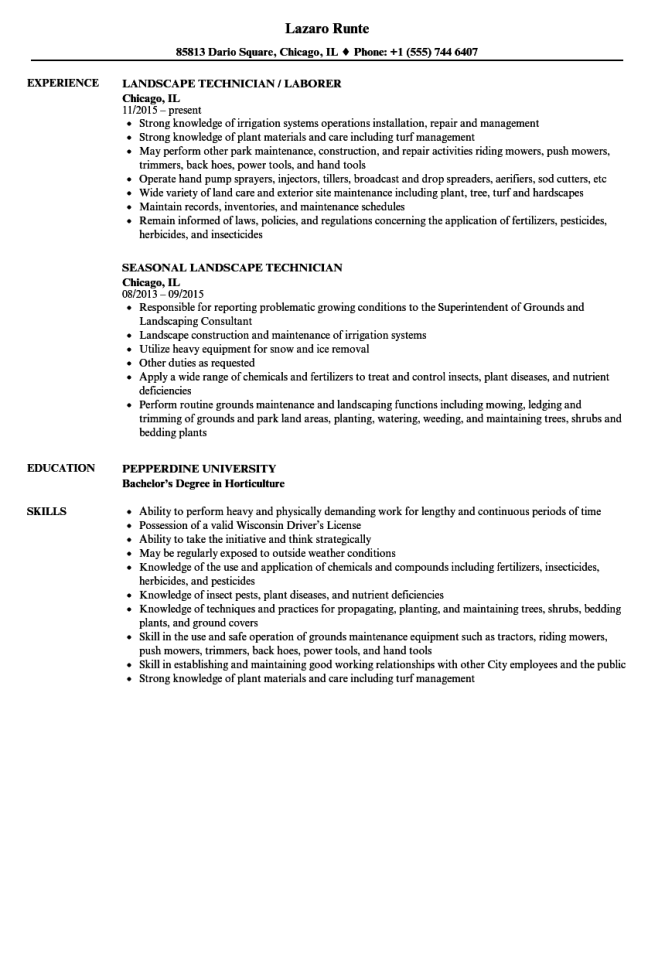 resume for landscaping job
