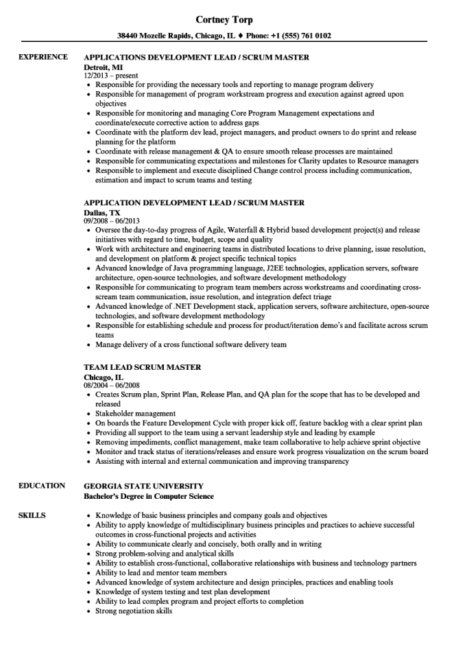 scrum master resume example