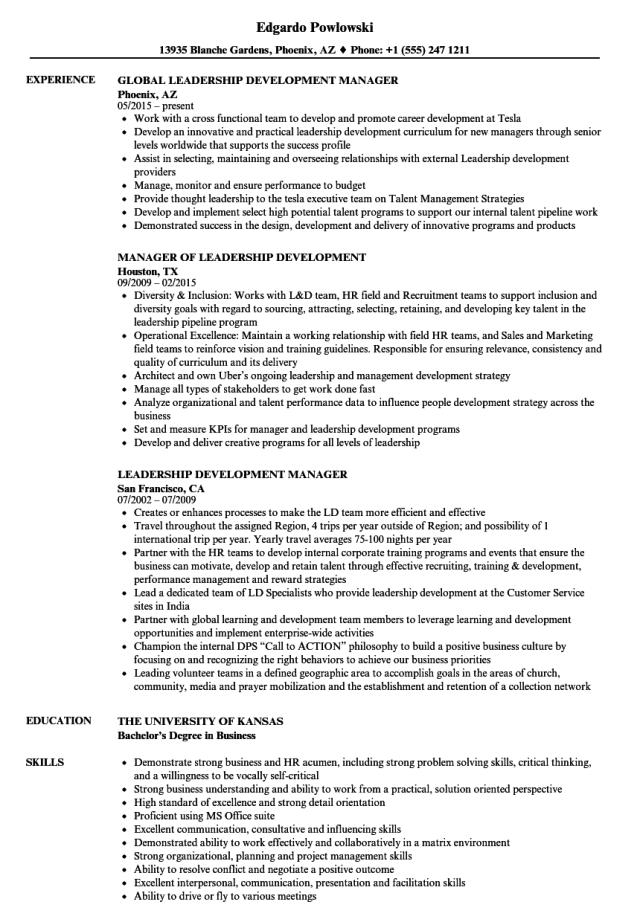 Leadership Development Manager Resume Samples  Velvet Jobs